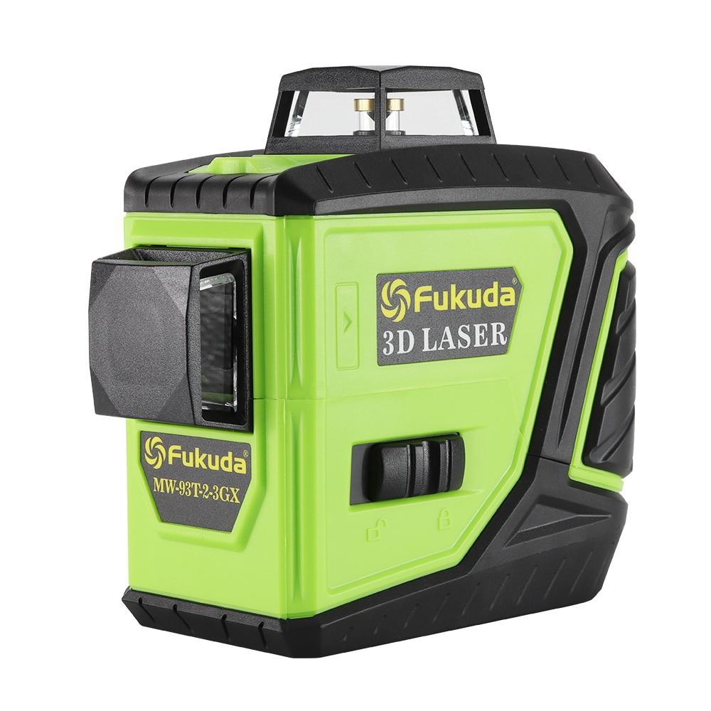 Fukuda niveau laser rotatif 360 12 lignes 3D vert faisceau laser niveleur auto-nivelant Horizontal Vertical croix laser ligne MW-93T nouveau
