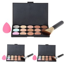2017 15 Colors Contour Concealer Palette Makeup Cream Corrector+Sponge Puff +163 Flat Makeup Powder Brush Proofreader  for Face