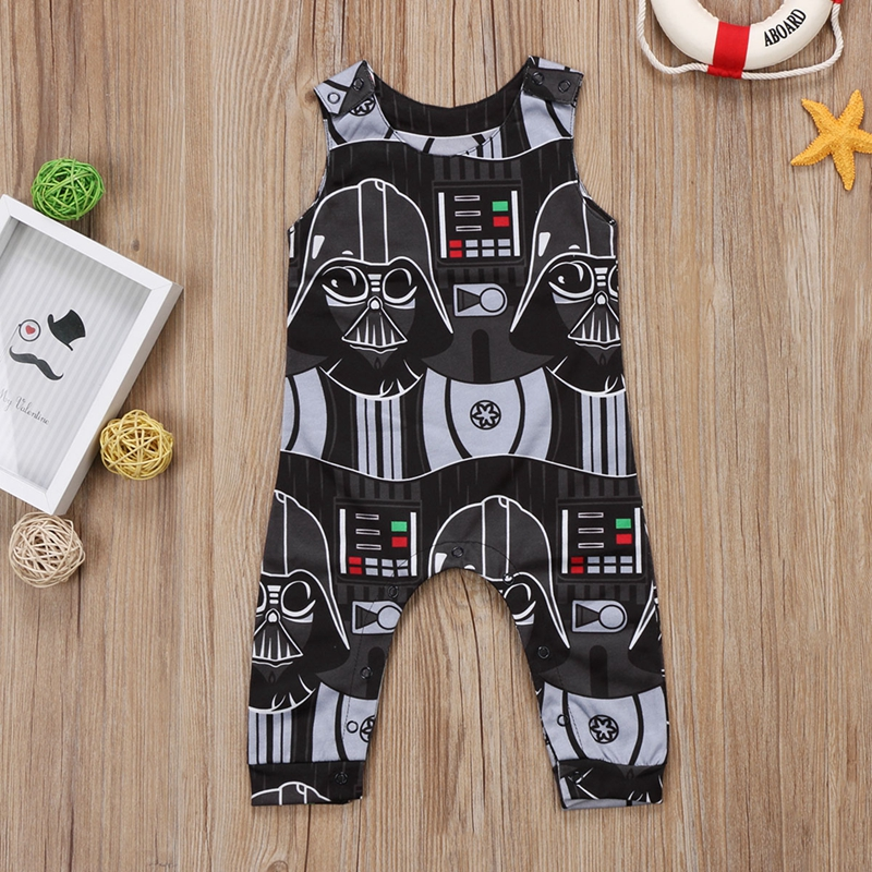 Fashion Baby Boy Clothes Toddler Kids Cartoon Star Wars Romper Sleeveless Jumpsuit Clothes Outfits