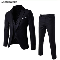 Amphion&spirit New Style Fashion Large Size Men's Business Three Pieces of Suits and Groom Wedding Dress Casual Men's Suit S 6XL