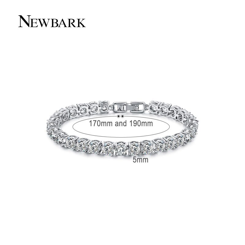 NEWBARK Silver Color Charm Bracelet Crystal Tennis Wedding Chain strand Round Created Crystal Stone Bracelets & Bangles Jewelry