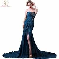 Andar Ao Seu Lado Imagem Real Chiffon Azul Marinho Vestidos de Noite Da Sereia Frisada Plissados Strapless Vestidos Formais Longo Prom Vestido