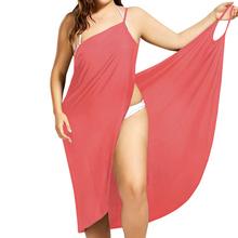 Plus rozmiar Pareo plaża okładka w górę Wrap sukienka bikini strój kąpielowy strój kąpielowy pokrycie UPS Robe de Plage Beach Wear tunika Kaftan stroje kąpielowe tanie tanio Stałe Pasuje do rozmiaru Weź swój normalny rozmiar Spandex poliester Z Leobenni 2286A Bikini Cover Up Beach Dress
