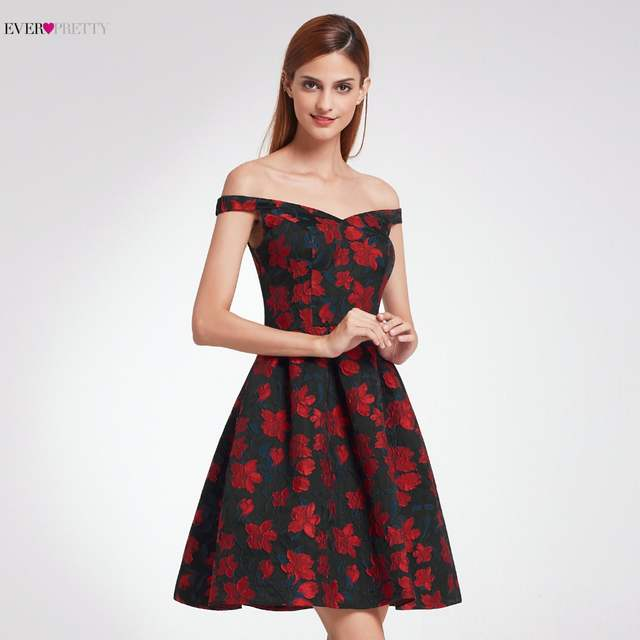 ed821d1d26b Ever-Pretty Fashion Off The Shoulder Prom Dresses Short Floral Print New  Design Formal Gala