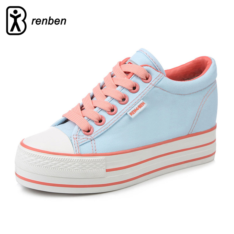 RenBen Canvas Platform Casual Shoes Women Fashion High Wedge Pump Female Shoes Increased Internal Breathable Ladies Footwear e toy word canvas shoes women han edition 2017 spring cowboy increased thick soles casual shoes female side zip jeans blue 35 40