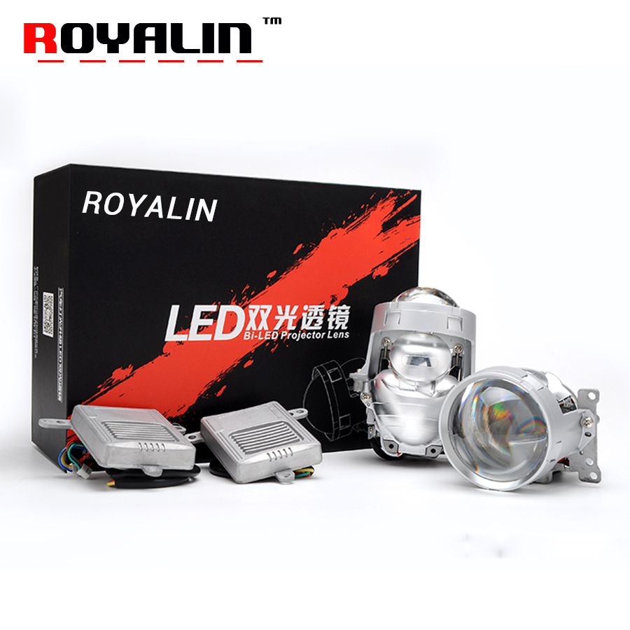 ROYALIN 36W A4 LED Headlight Bi led Projector Lens High Low Beam Strong Power Car Lighting Universal Retrofitting 6000K White