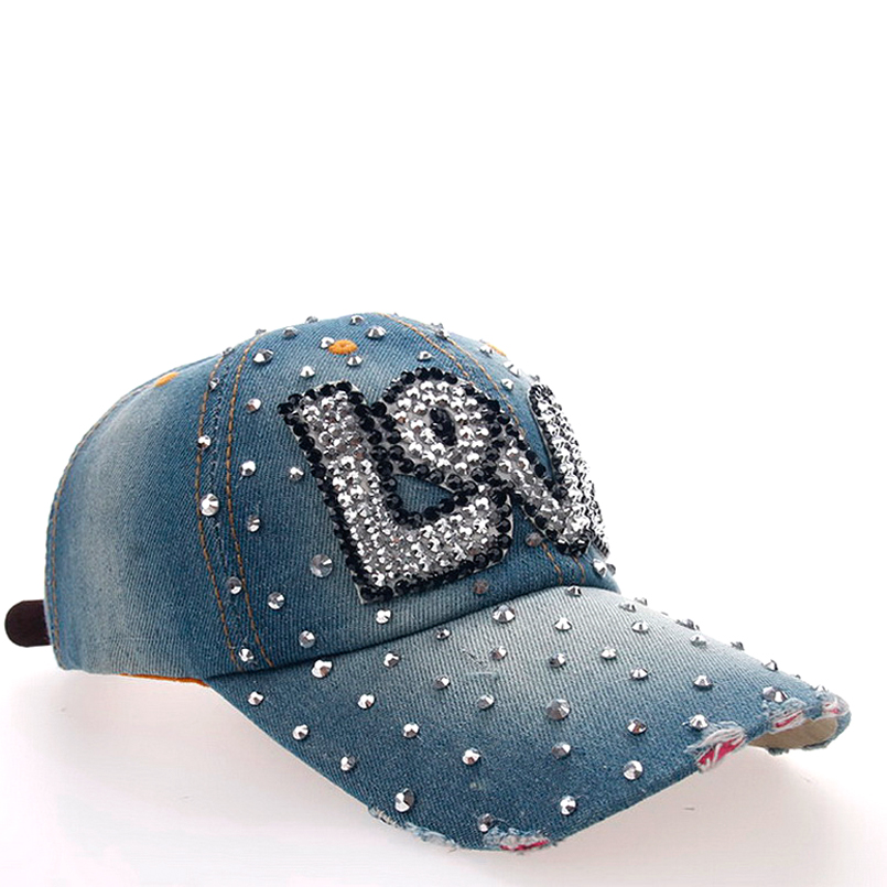 ladies baseball caps with bling womens brands women girls cap fashion classic bone hip hop hats rhinestones