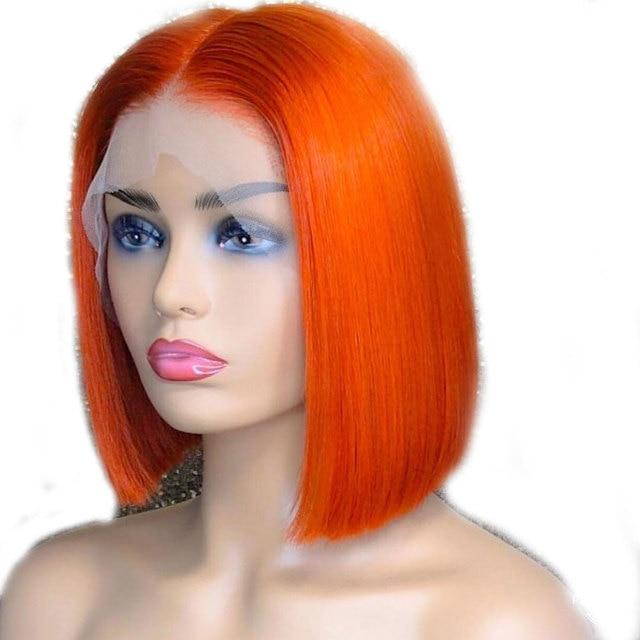 13x6 parte profunda de encaje frontal de Color naranja cabello humano pelucas para mujeres negras Remy Pre desplumado cabello corto pelucas Bob con pelo de bebé