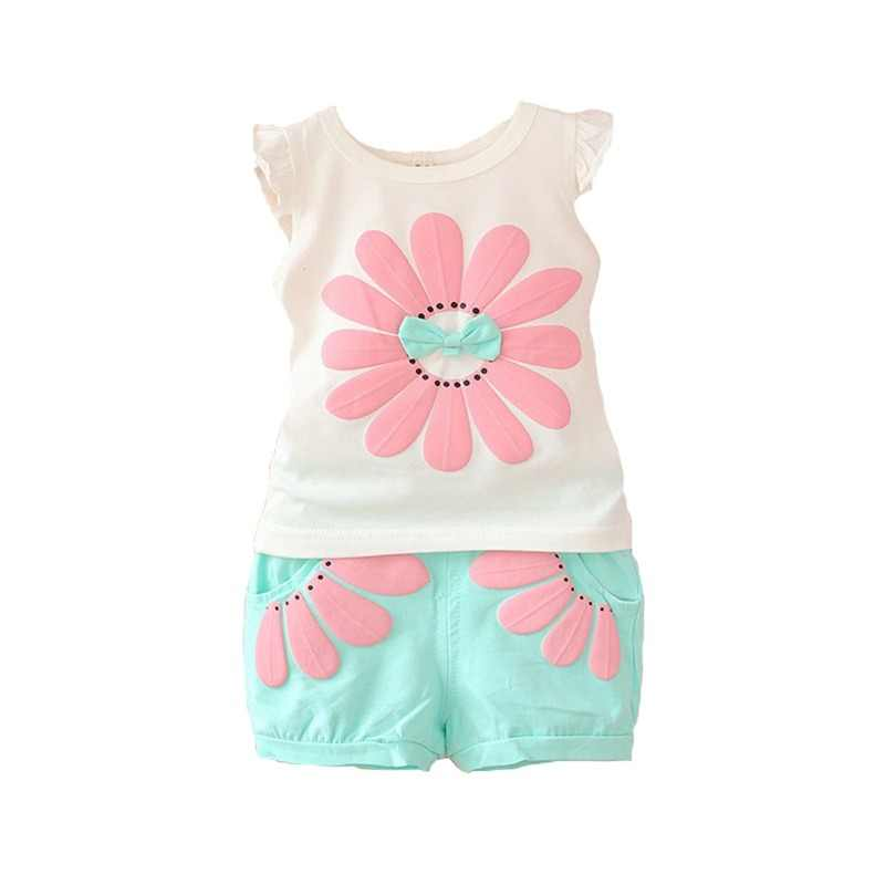 fa8cf713c BibiCola baby girl clothes 2018 summer baby clothing sets fashion sunflowers  vest+pants 2pcs outfits
