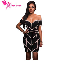 Dear Lover Off Shoulder Dress 2017 Party Summer Clubwear Sexy Women Black Nude Trim Bodycon Mini