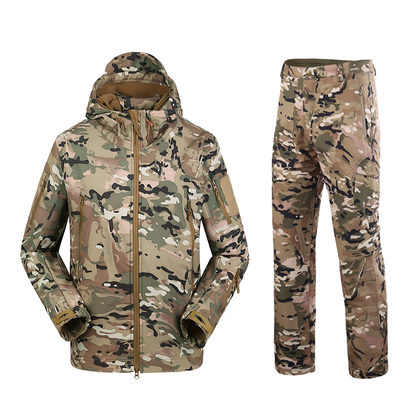 Military TAD Camouflage Tactical Suits Winter Autumn Waterproof Fleece Shark Skin Soft Shell Jacket Set Men Outwear BF05