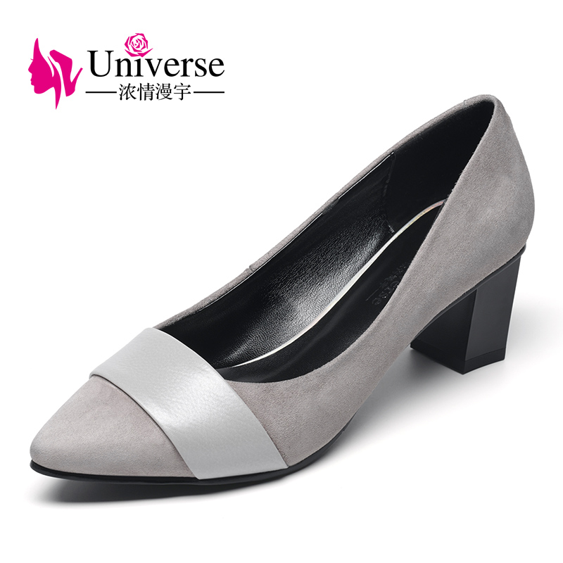 Universe Kid Suede Pumps 2017 Elegant Women Shoes Pointed Toe Thick Heel G026 esveva 2017 ankle strap high heel women pumps square heel pointed toe shoes woman wedding shoes genuine leather pumps size 34 39