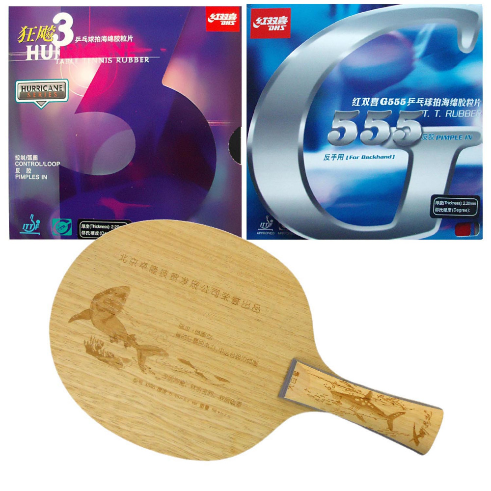 Original Pro Table Tennis/ PingPong Combo Racket: Xi EnTing Shark X686 with DHS Hurricane 3 / G555 Long Shakehand-FL pro table tennis pingpong combo paddle racket dhs power g3 pg3 pg 3 pg 3 2 pcs neo hurricane3 shakehand long handle fl