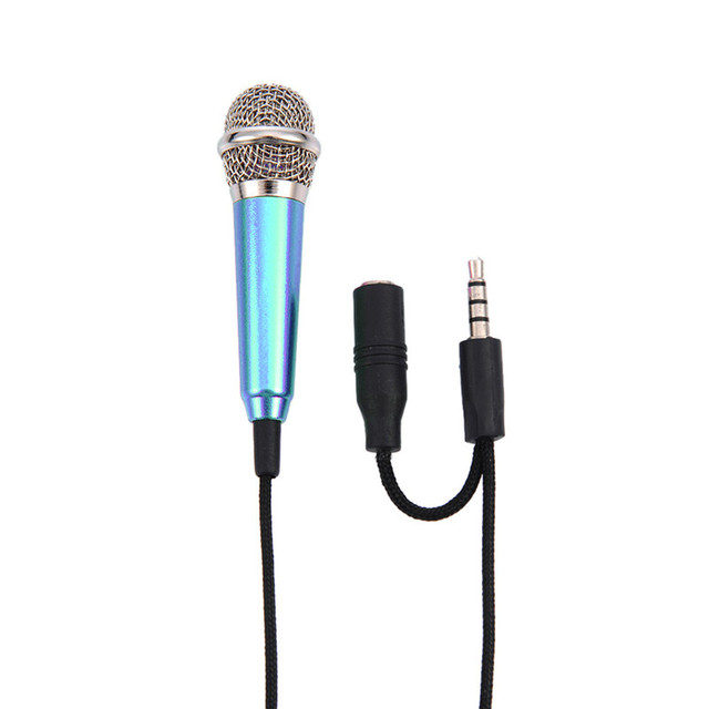 for IPhone Android All Smartphone Notebook Top Quality 1pc Mini Mic Portable Microphone Stereo Karaoke Sound Record 3.5mm Plug