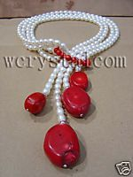 White Freshwater Pearl Red Coral Necklace