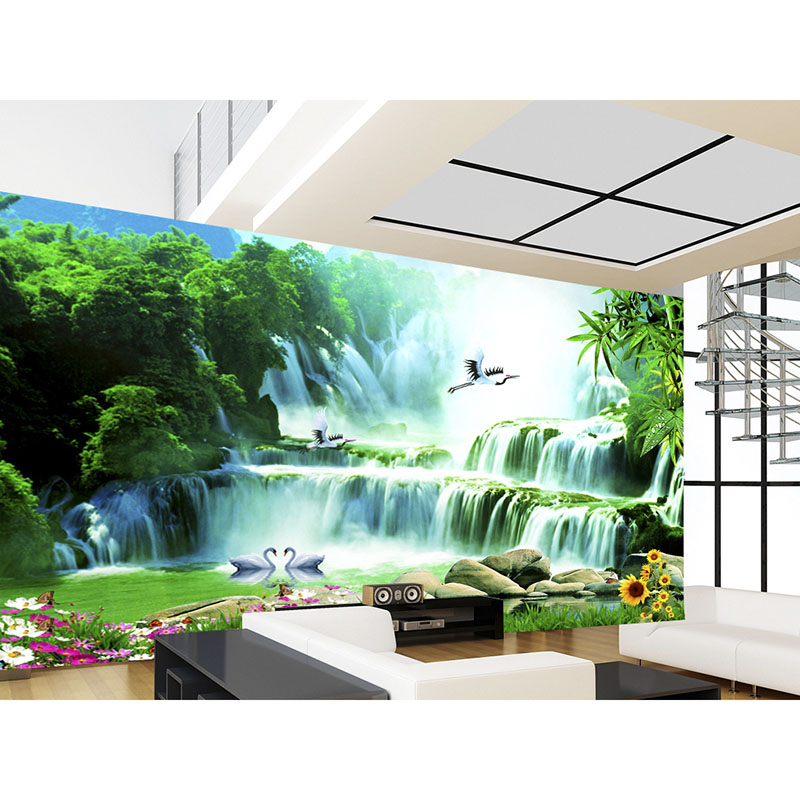 Aoyama Waterfall Wallpaper Art Decoration For Living Room TV Beautiful High Quality 3D Murals Non-woven Wall Paper For Walls#331 Обои