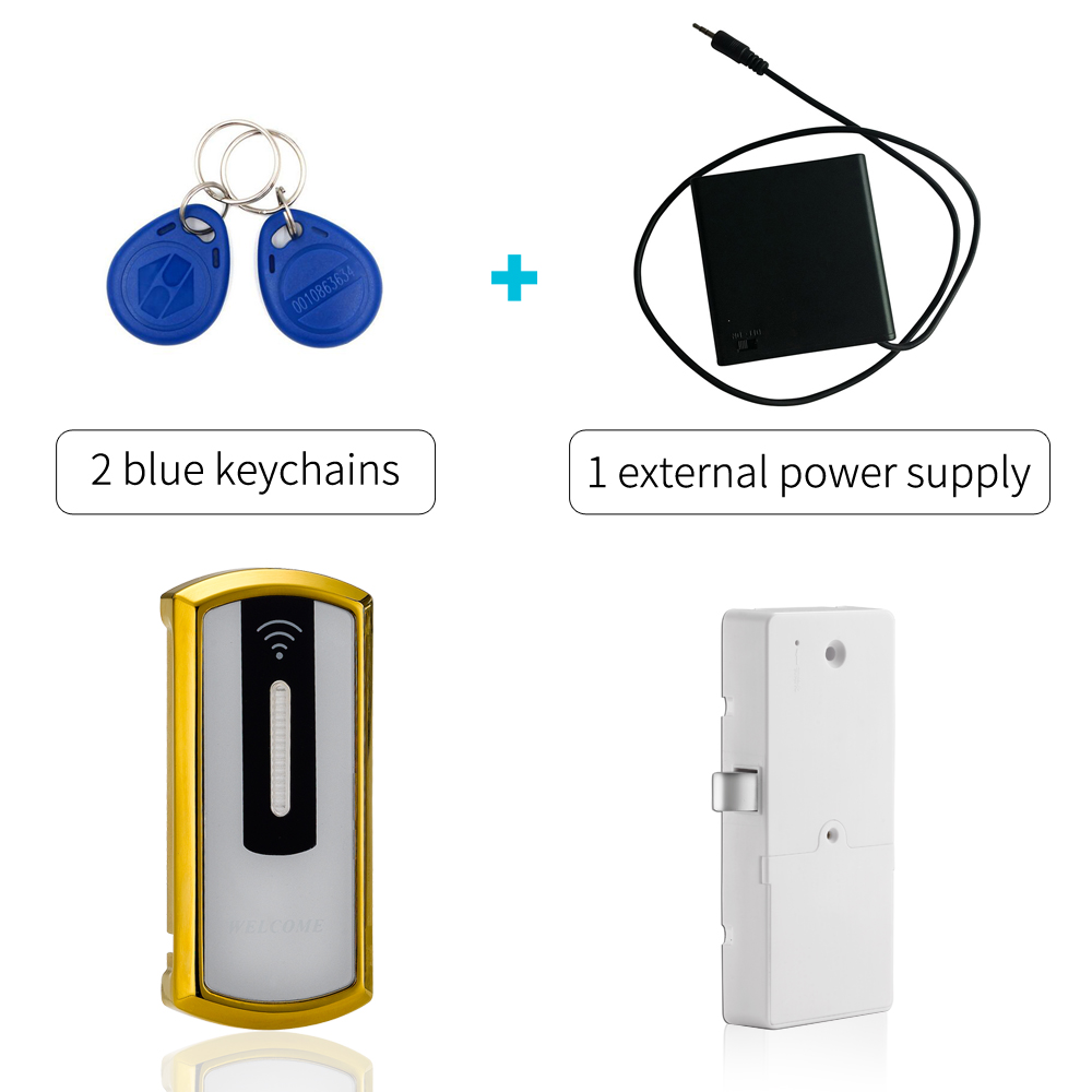 Electronic Safe Access 125KHZ rfid Cabinet Lock Keyless Gym Locker Cabinet Lock With External Power Supply in Gold Color high quality universal metal electronic digital rfid gym magnetic locker lock
