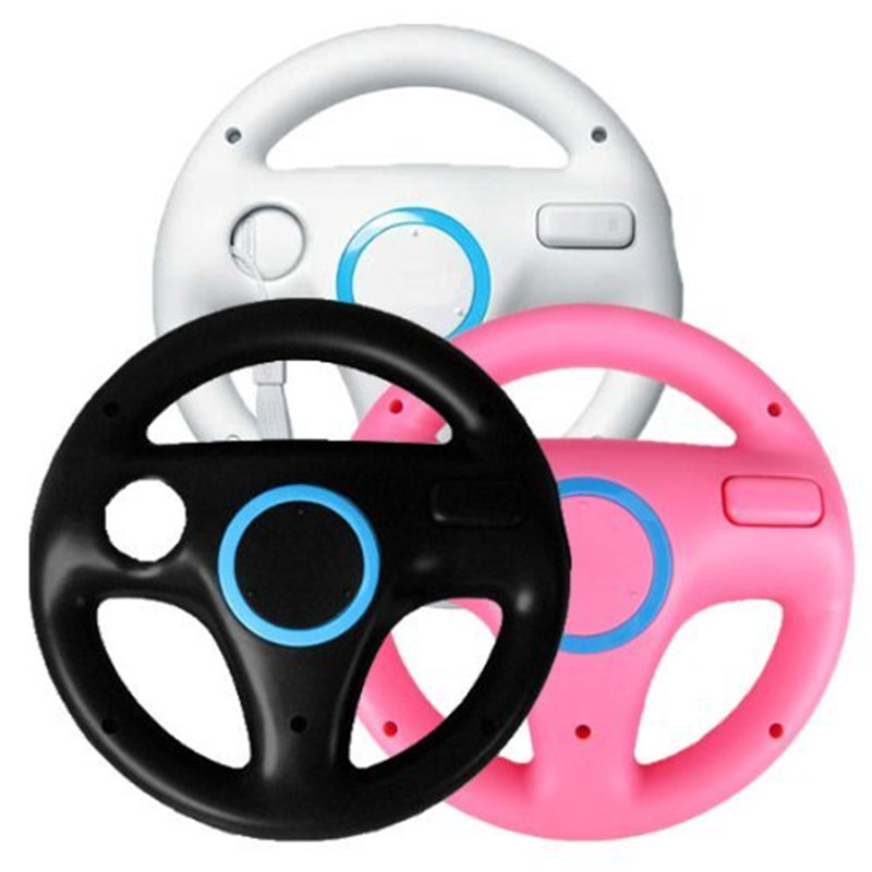 Kart Racing Steering Wheel For Nintendo Wii Games Remote Controller Console Super Mario Kart Game Accessories black white pink
