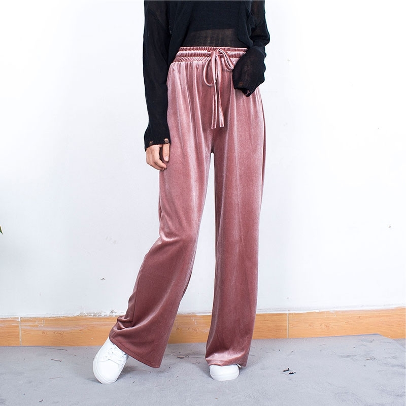 Vintage Velvet Wide Leg Pants Spring Autumn Female High Waist Trouser For Women Palazzo Bottoms Casual Clothes Plus Size