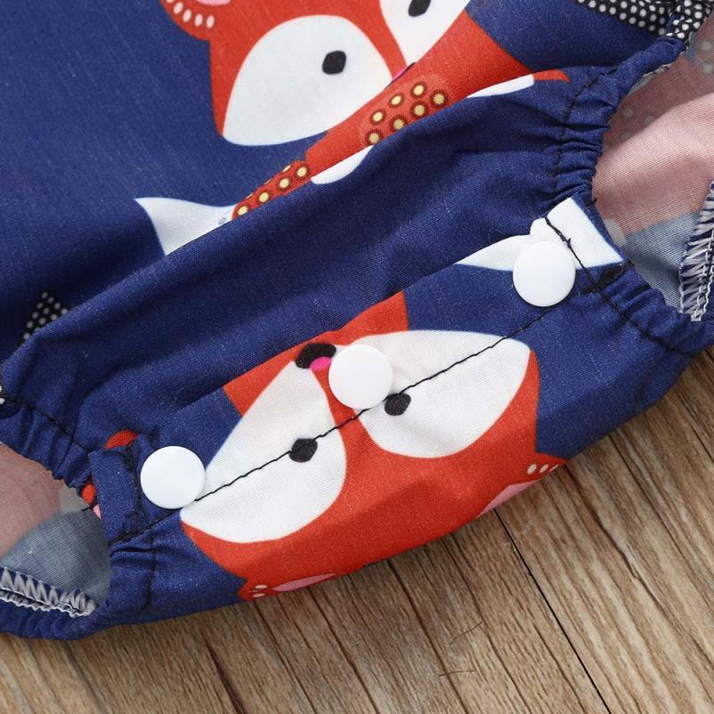 shaunyging # 4004 Toddler Baby Fox Floral Print Vest Sleeveless Animal Cartoon Romper Jumpsuit