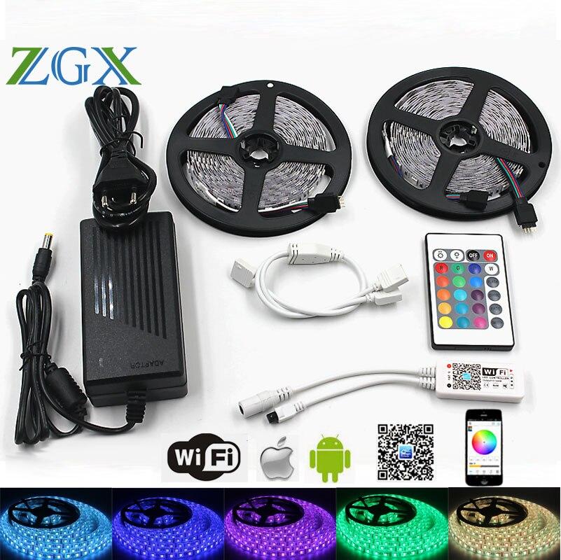 ZGX wifi Controller SMD 5050 RGB IP 20 Waterproof LED Strip Light Flexible 60leds/m led tape diode DC 12V adapter set 220V decto wholesale 100sets lot led strip set smd 5630 60leds m flexible led light power adapter best quality