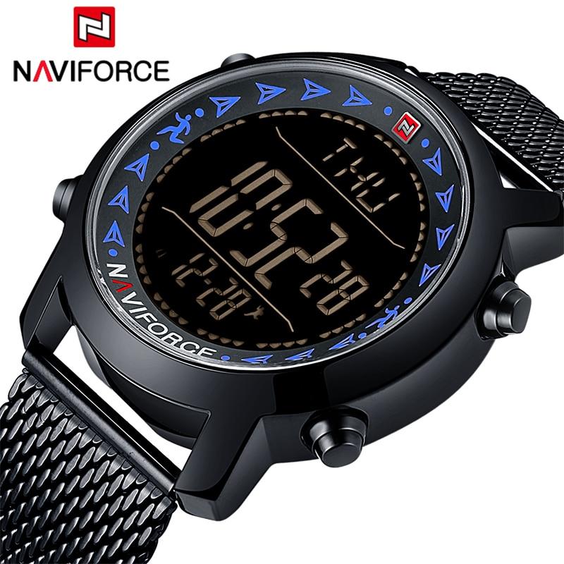 Men LED Digital Watch Sports Watches Men's Stainless Steel Military Waterproof Wrist Watch