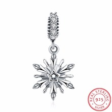 100% 925 Sterling Silver Zircon Snowflake Shape Romantic Charms Beads Fit Original Bracelet Necklace DIY Jewelry Accessories