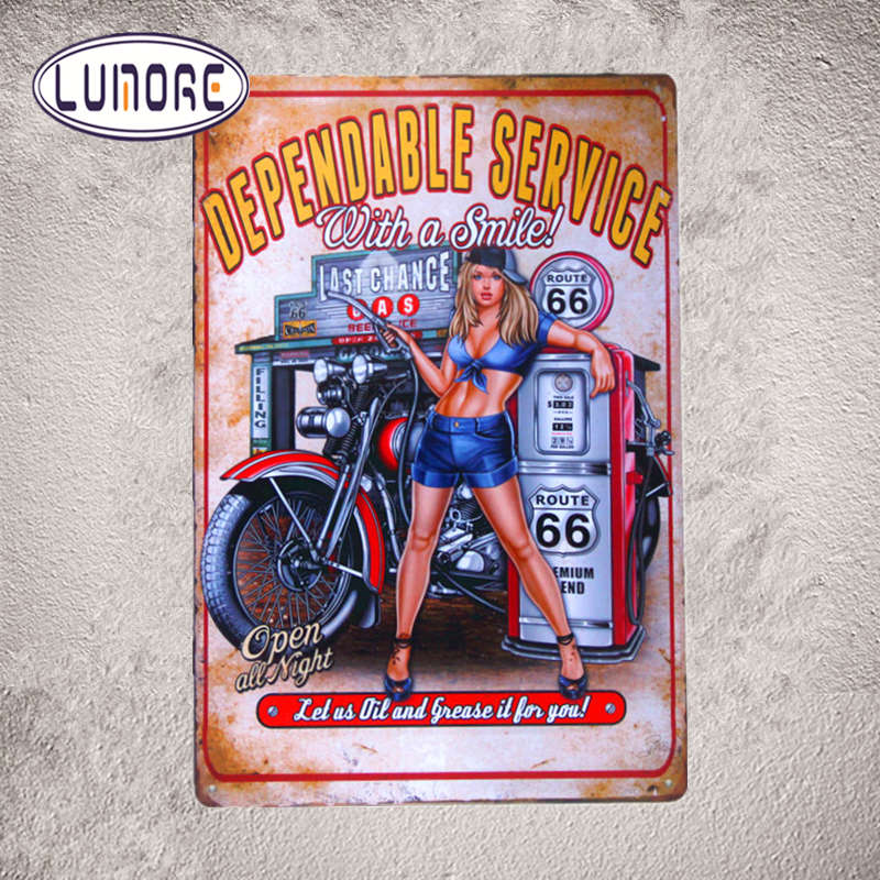 Dependable Service With A Smile Motorcycle Biker Pin Up