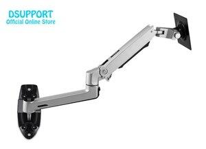 Image 3 - Suporte ultrafino de parede, suporte para monitor de braço mecânico, liga de alumínio, suporte para monitor de movimento completo, suporte de montagem