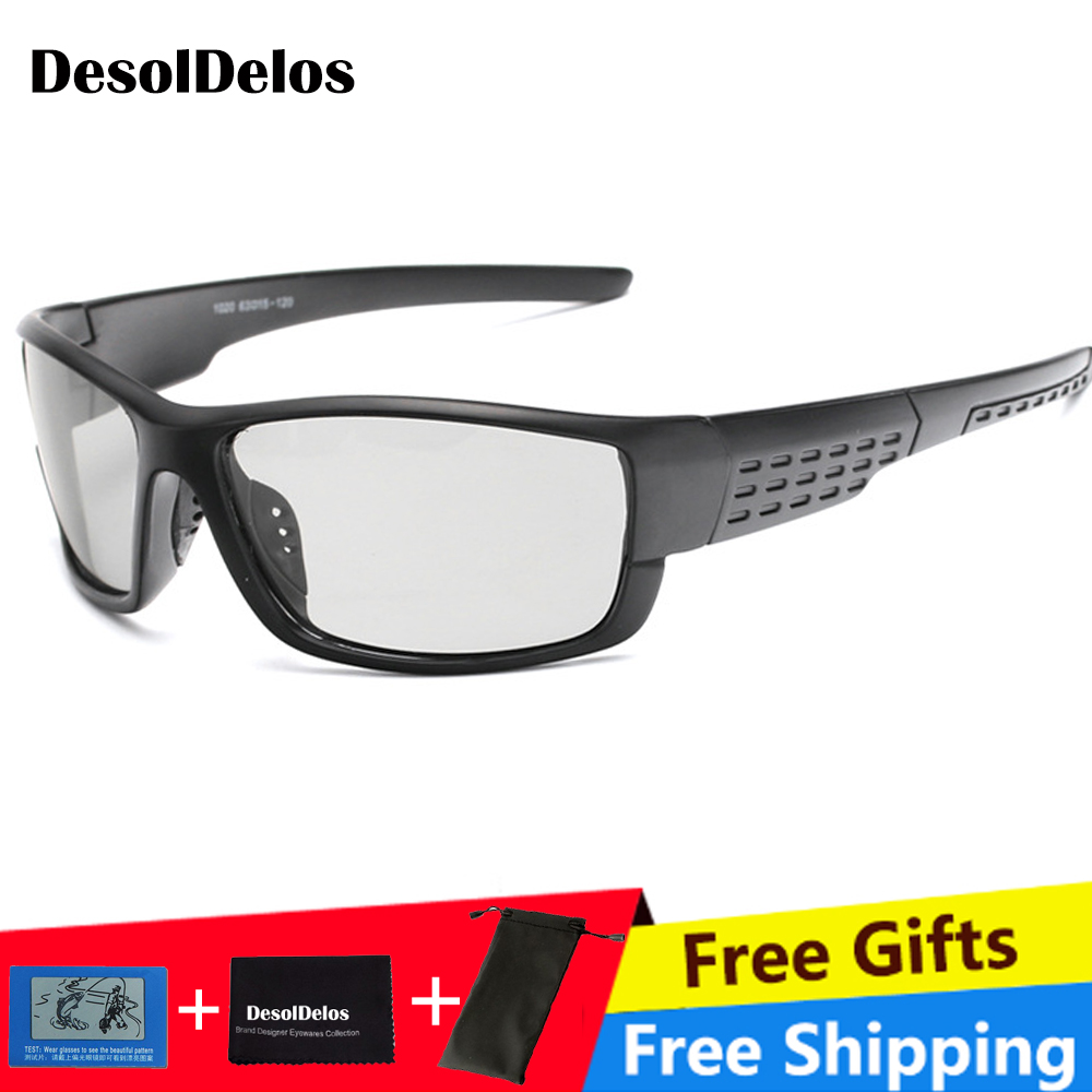 DD Brand Photochromic Sunglasses Men Polarized Chameleon Discoloration Sun Glasses For Fashion Square Driving Accessories