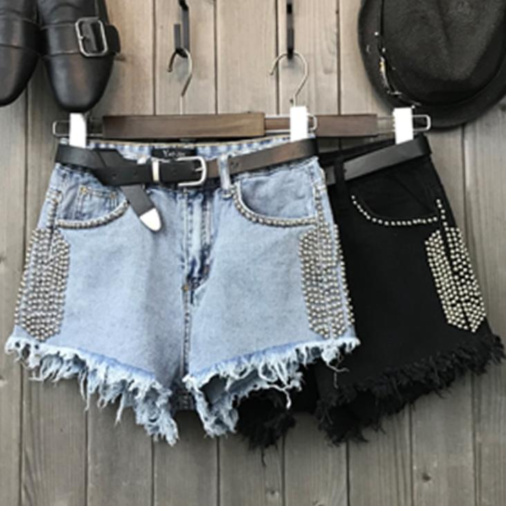 Women Summer Denim Shorts Vintage High Waist Short Cuffed Jeans Girls Rivet Jeans Ladies Booty Shorts