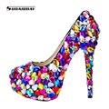Nuevo 2016 Hecho A Mano de Las Mujeres Dulces de Colores Rhinestones de Tacón Alto Zapatos de Boda Mujeres Bombas de Novia Zapatos de la Cena de La Boda