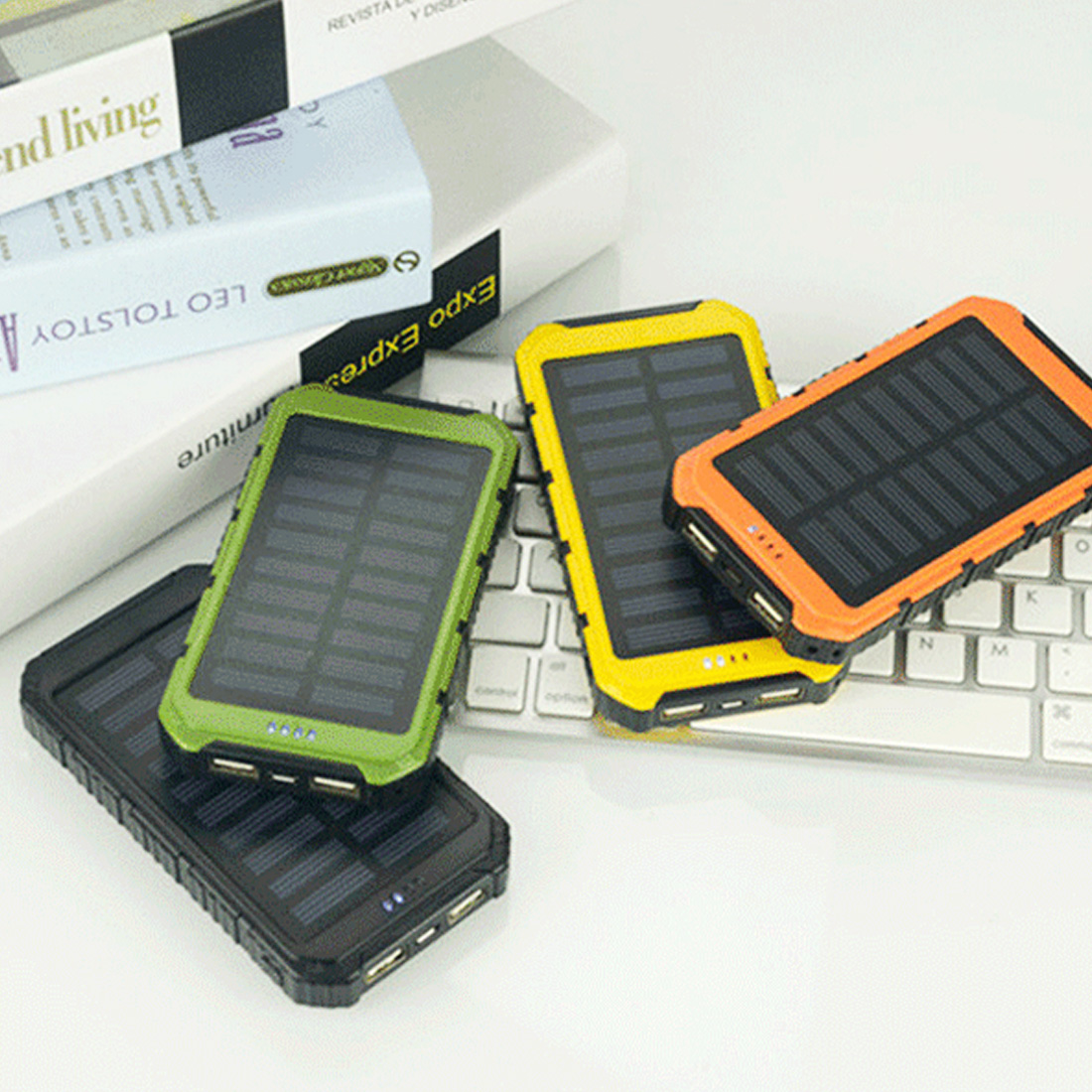 Solar Panel Sun power Battery Power Bank 20000mAh large Capacity Charger Universal Portable Solar Mobile Phone Power Charger power bank romoss sense 4p mobile 10400 mah solar power bank externa bateria portable charger for phone