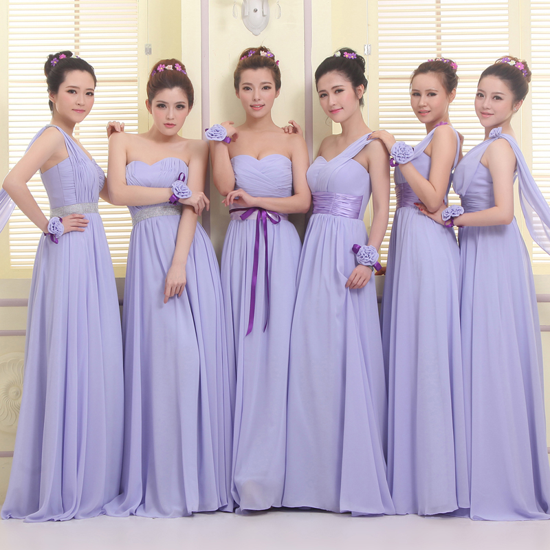 LC1019M1 Lavender Bridesmaid Dresses Long Chiffon Formal Wedding ...