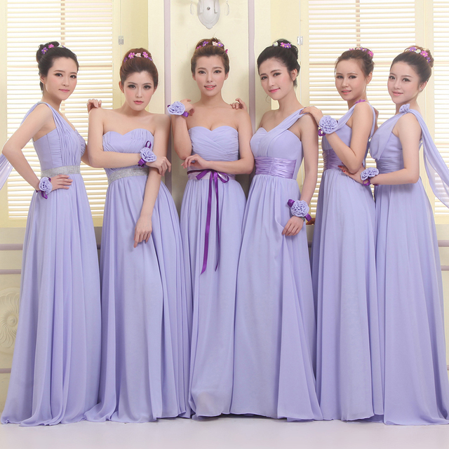 LC1019M1 Lavender Bridesmaid Dresses Long Chiffon Formal Wedding Party Gown Modest Purple Prom Dress Cheap