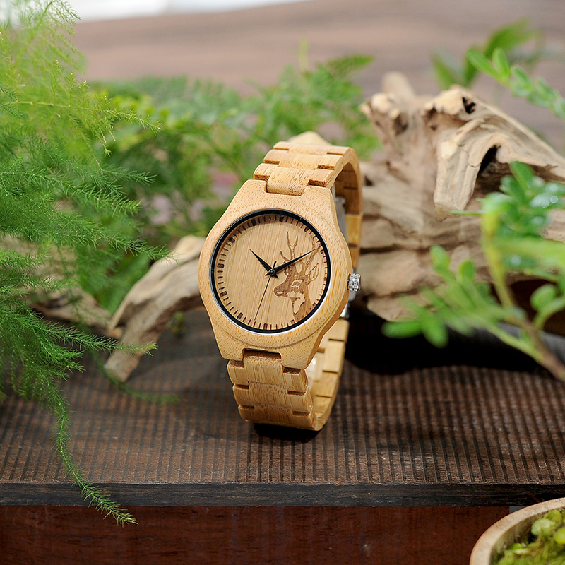BOBO BIRD Bamboo Watches for Men with Sepical Design Elk Head Engraved Wristwatches Wood Gifts relogio masculino C-D28