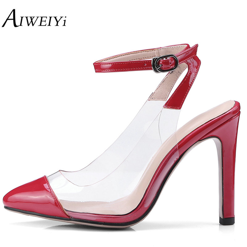 6488450ac963 AIWEIYi Women Sandals PVC Pointed Toe Clear Transparent High Heel Pumps  Slingback Stilettos High Heels Ladies Dress Shoes