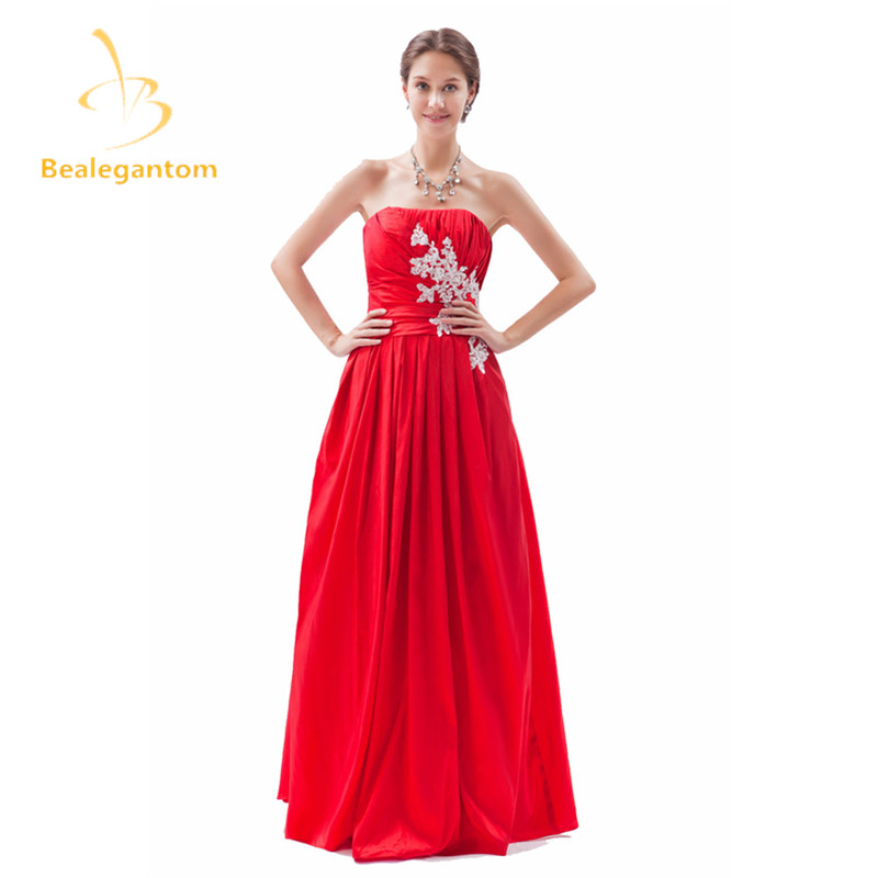 Bealegantom Sexy Red Appliques A-Line   Prom     Dresses   2019 With Pleat Satin Plus Size Evening Party Gowns Vestido Longo BP005