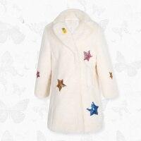 Thương hiệu cô gái mặc lông ấm áo khoác mùa đông thỏ áo khoác lông thú của len 4-10 năm