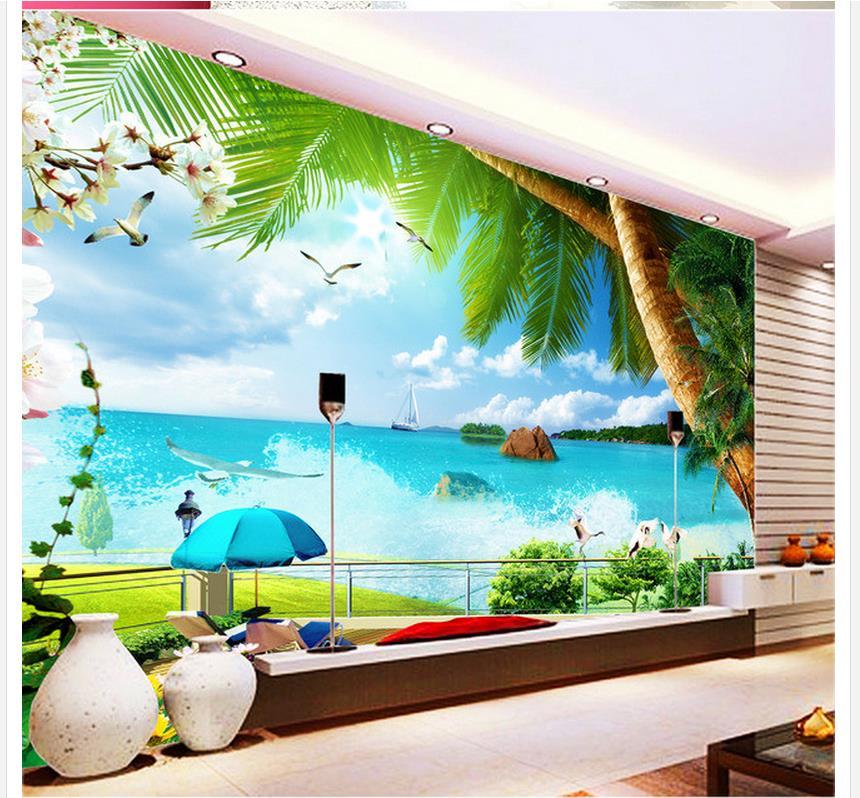 custom photo wallpaper 3d living 3d wallpaper Tree beach scenery backdrop photo 3d wallpaper fantasy wallpaper 3d Обои