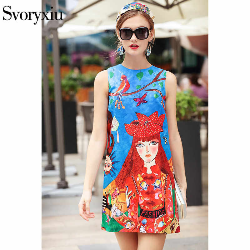 Svoryxiu 2018 Runway Vintage verano A Line Vestido corto estampado de personajes de animales de dibujos animados para mujer vestido sin mangas para fiesta