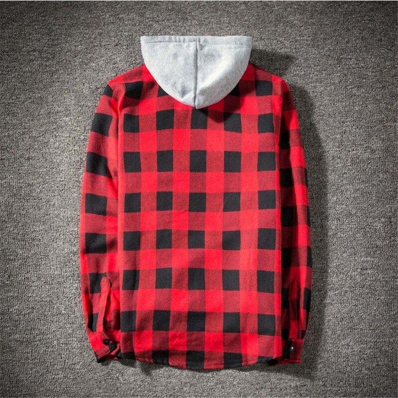 Casual Plaid Shirts Hooded  3