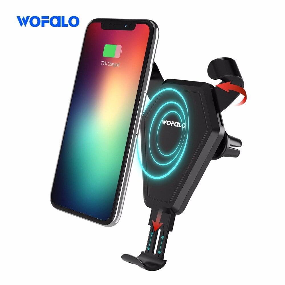 2ba807fda58 Wofalo 2 en 1 rápido cargador inalámbrico para coche soporte negro 7,5 W  coche montaje de ventilación de aire para teléfono titular de la cuna para  iPhone ...