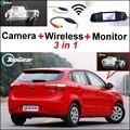 3 in1 Câmera Sem Fio + Receptor + Monitor Espelho Especial Basy DIY Sistema de Back Up de Estacionamento Para KIA K2 Rio Hatchback UB 2011 ~ 2015