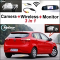 3 in1 Special Camera + Wireless Receiver + Mirror Monitor Basy DIY Back Up Parking System For KIA Rio K2 UB Hatchback 2011~2015