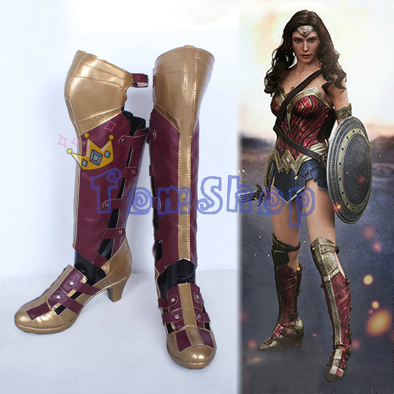 Superhero Batman vs Superman Wonder Woman Diana Prince High Boots Cosplay Leather Shoes Halloween Costumes