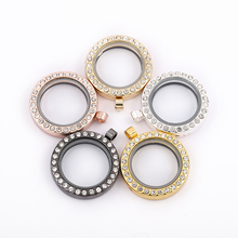 10pcs/lot Mix Color Round Floating Locket With Rhinestone Magnetic Glass Photo Memory Pendant