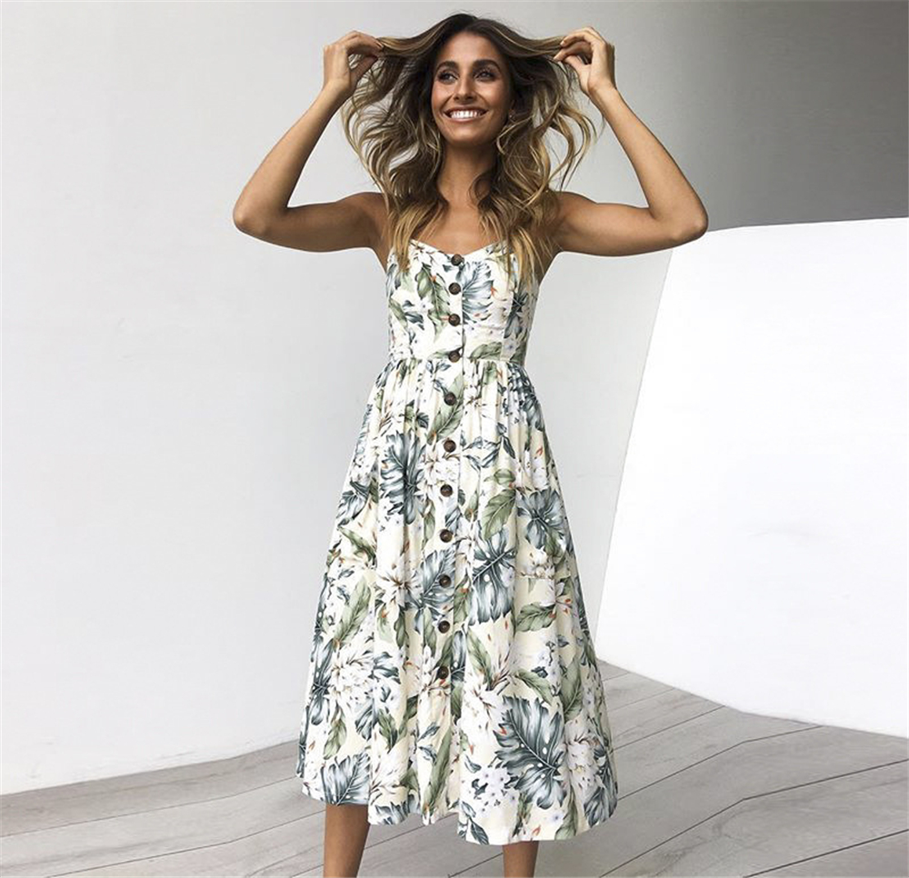 Hallolilla Brand Dress Floral Print Bohemian Style Boho Vestidos Vintage Party Club Sexy Clothes Midi Beach Women Summer Dress