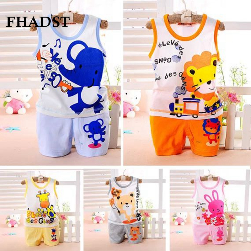 FHADST New Brand Fashion  Baby Boys Clothes Kid's T-shirts Set 2017 Summer Undershirt Clothing Cotton Short T-Shirt +Pants Sets brand fashion kids summer slim top mickey kid t shirt minnie mouse boys clothes shirts cotton short sleeve tee shirt