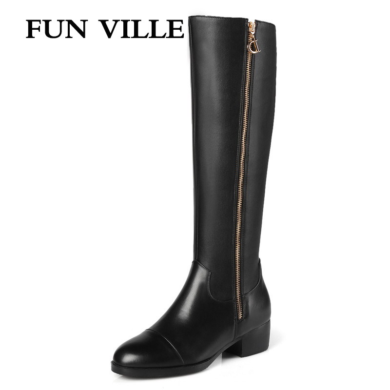 FUN VILLE 2017 New Fashion Autumn winter Women knee high Boots Genuine leather + PU black Round toe Zipper size 34-43 sorrento